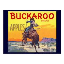 Vintage Fruit Crate Label Art, Buckaroo Apples Postcard