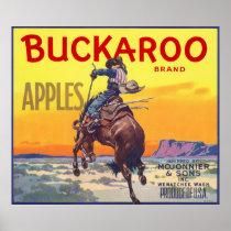 Vintage Fruit Crate Label Art, Buckaroo Apples Poster