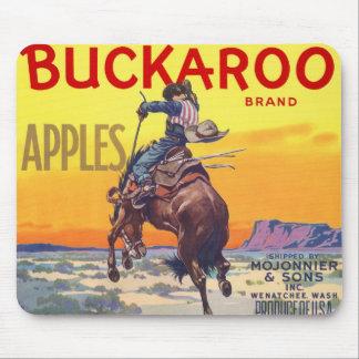 Vintage Fruit Crate Label Art, Bucking Cowboy Mouse Pad