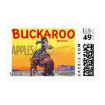 Vintage Fruit Crate Label Art, Bucking Cowboy Postage Stamp