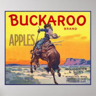 Vintage Fruit Crate Label Art, Bucking Cowboy Poster