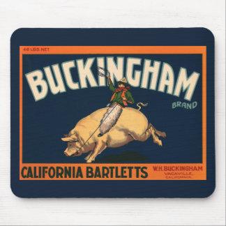 Vintage Fruit Crate Label Art Cowboy on Pig Rodeo Mouse Pad