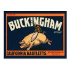 Vintage Fruit Crate Label Art Cowboy on Pig Rodeo Postcard