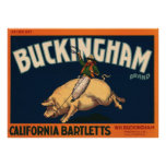 Vintage Fruit Crate Label Art Cowboy on Pig Rodeo Poster