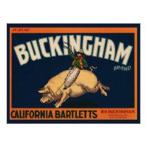 Vintage Fruit Crate Label Art Cowboy on Pig Rodeo