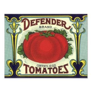 "Vintage Fruit Crate Label Art, Defender Tomatoes 4.25"" X 5.5"" Invitation Card"
