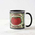 Vintage Fruit Crate Label Art, Defender Tomatoes Mug