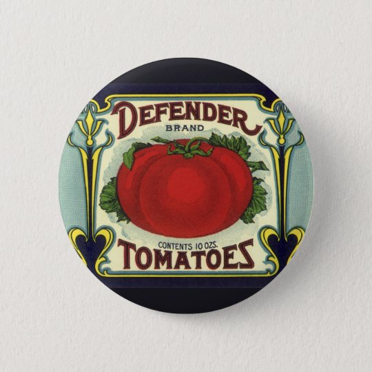 Vintage Fruit Crate Label Art, Defender Tomatoes Pinback Button