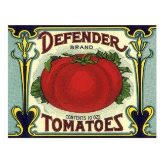 Vintage Fruit Crate Label Art, Defender Tomatoes Postcard