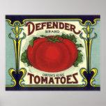 Vintage Fruit Crate Label Art, Defender Tomatoes Posters
