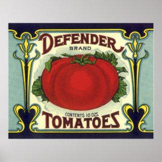 Vintage Fruit Crate Label Art, Defender Tomatoes Poster