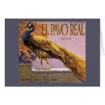 Vintage Fruit Crate Label Art El Pavo Peacock Bird