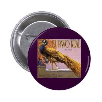 Vintage Fruit Crate Label Art El Pavo Peacock Bird 2 Inch Round Button