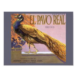 Vintage Fruit Crate Label Art El Pavo Peacock Bird Card