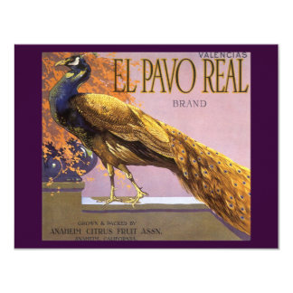 "Vintage Fruit Crate Label Art El Pavo Peacock Bird 4.25"" X 5.5"" Invitation Card"