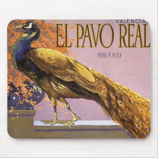 Vintage Fruit Crate Label Art El Pavo Peacock Bird Mouse Pad