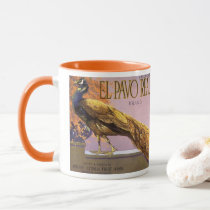 Vintage Fruit Crate Label Art El Pavo Peacock Bird Mug