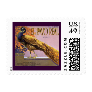 Vintage Fruit Crate Label Art El Pavo Peacock Bird Postage Stamps