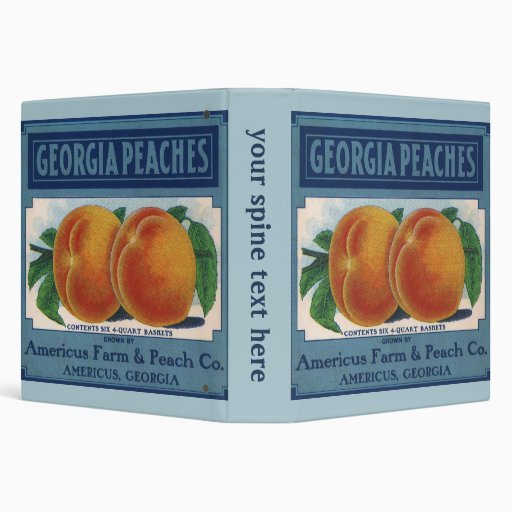 Vintage Fruit Crate Label Art, Georgia Peaches 3 Ring Binders