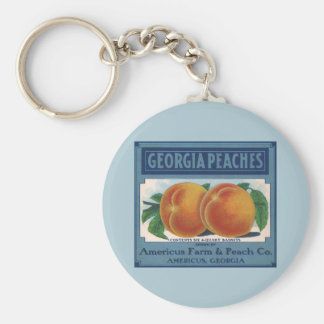 Vintage Fruit Crate Label Art, Georgia Peaches Basic Round Button Keychain