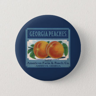 Vintage Fruit Crate Label Art, Georgia Peaches Button