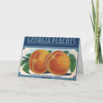 Vintage Fruit Crate Label Art, Georgia Peaches Card