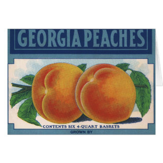 Vintage Fruit Crate Label Art, Georgia Peaches Greeting Cards