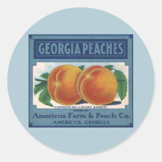 Vintage Fruit Crate Label Art, Georgia Peaches Classic Round Sticker