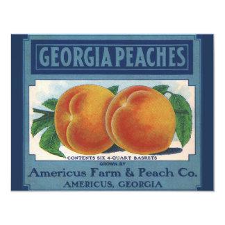 "Vintage Fruit Crate Label Art, Georgia Peaches 4.25"" X 5.5"" Invitation Card"