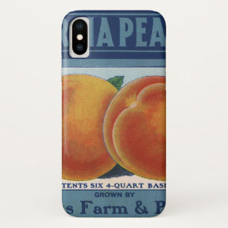 Vintage Fruit Crate Label Art, Georgia Peaches iPhone X Case