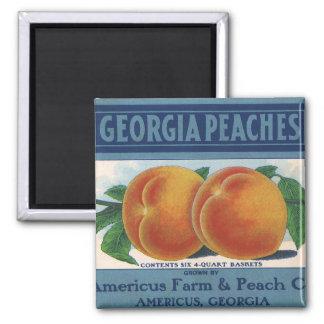 Vintage Fruit Crate Label Art, Georgia Peaches Magnet