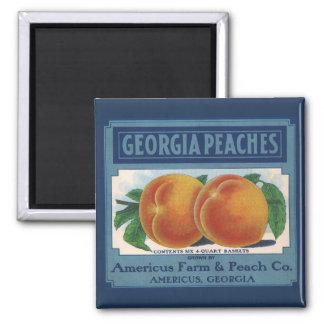 Vintage Fruit Crate Label Art, Georgia Peaches Fridge Magnet