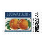 Vintage Fruit Crate Label Art, Georgia Peaches Postage