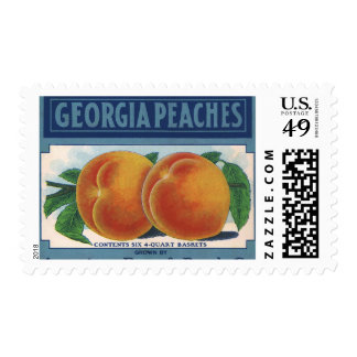 Vintage Fruit Crate Label Art, Georgia Peaches Postage