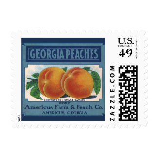 Vintage Fruit Crate Label Art, Georgia Peaches Postage Stamps