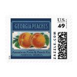 Vintage Fruit Crate Label Art, Georgia Peaches Postage Stamp