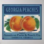 Vintage Fruit Crate Label Art, Georgia Peaches Poster