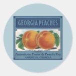 Vintage Fruit Crate Label Art, Georgia Peaches Round Stickers