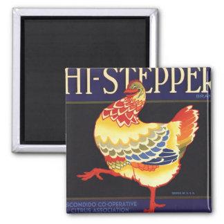 Vintage Fruit Crate Label Art, Hi Stepper Chicken 2 Inch Square Magnet
