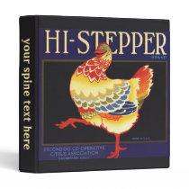 Vintage Fruit Crate Label Art, Hi Stepper Chicken Binder