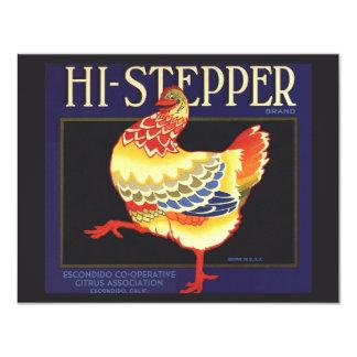 Vintage Fruit Crate Label Art, Hi Stepper Chicken Card