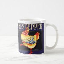 Vintage Fruit Crate Label Art, Hi Stepper Chicken Coffee Mug