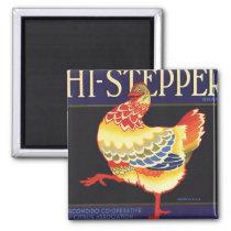 Vintage Fruit Crate Label Art, Hi Stepper Chicken Magnet