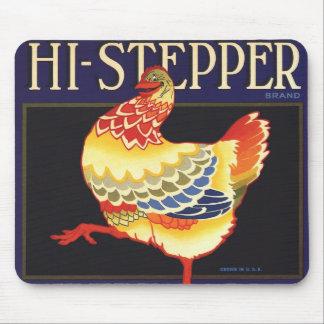 Vintage Fruit Crate Label Art, Hi Stepper Chicken Mouse Pad