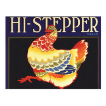 Vintage Fruit Crate Label Art, Hi Stepper Chicken Postcard