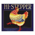 Vintage Fruit Crate Label Art, Hi Stepper Chicken Print