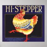 Vintage Fruit Crate Label Art, Hi Stepper Chicken Poster