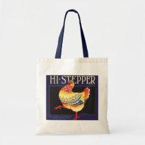 Vintage Fruit Crate Label Art, Hi Stepper Chicken Tote Bag
