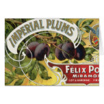 Vintage Fruit Crate Label Art, Imperial Plums