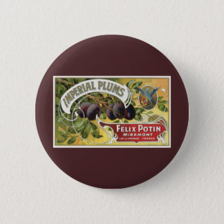 Vintage Fruit Crate Label Art, Imperial Plums Button